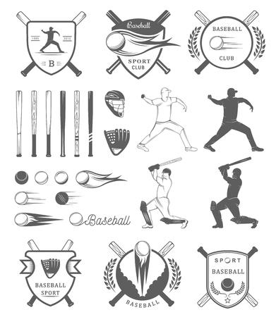 bate: Conjunto de etiquetas del béisbol de cosecha,, muestra, insignias, iconos y el equipo. Colección de elementos emblema del club y del diseño del béisbol. torneo de béisbol profesional y deportes gráfico.
