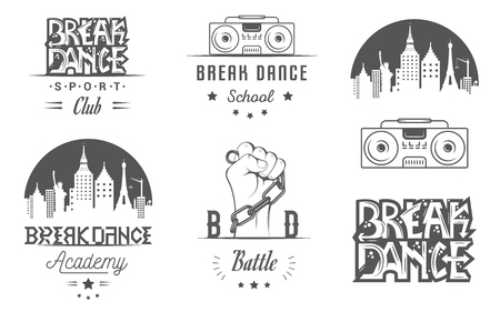 break in: Set of Breakdance Bboy Silhouettes in Different Poses. Collection  and badges hip-hop school, academy, break dance battle, club, cup and league. Sign Hip-hop, graffiti and street dance.