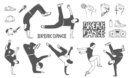 hiphop: Break Dance silhouettes man and outfit. Set of Breakdance Bboy Silhouettes in Different Poses. Up, Down, On a Floor, On a Head, Jump, Twist, Rotate. Silhouette of young man dance Hip-hop with graffiti