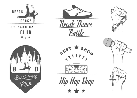 hiphop: Set of Breakdance Bboy Silhouettes in Different Poses. Collection  and badges hip-hop school, academy, break dance battle, club, cup and league. Sign Hip-hop, graffiti and street dance.