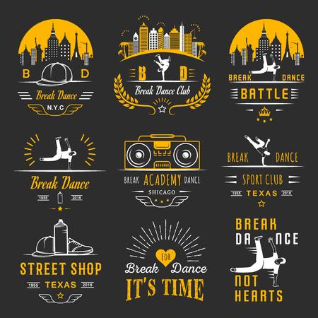 Ensemble de Breakdance Bboy Silhouettes dans des poses différentes. Collection et insignes école hip-hop, académie, break dance bataille, club, coupe et ligue. Inscrivez-vous Hip-hop, graffiti et street dance.