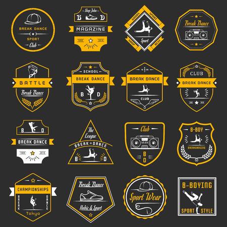 baile hip hop: Conjunto de Breakdance Bboy siluetas en diferentes poses. Colección de insignias y de la escuela de hip-hop, academia, break dance batalla, club, copa y liga. Firmar Hip-hop, graffiti y street dance.