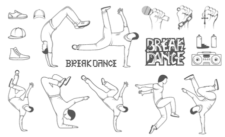 break in: Break Dance silhouettes man and outfit. Set of Breakdance Bboy Silhouettes in Different Poses. Up, Down, On a Floor, On a Head, Jump, Twist, Rotate. Silhouette of young man dance Hip-hop with graffiti