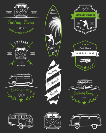 surf shop: Vector badges and  surfing, boards and equipment shops, beaches. Illustration