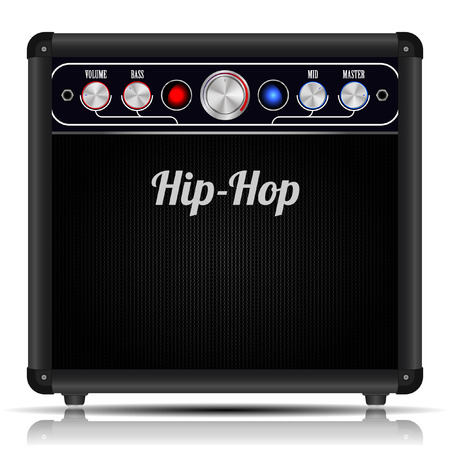 amp: Electric guitar amplifier on white background. Vector illustration.