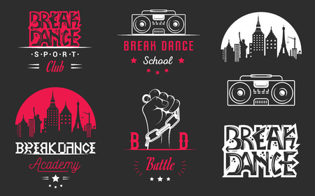 rap music: Set of Breakdance Bboy Silhouettes in Different Poses. Collection  and badges hip-hop school, academy, break dance battle, club, cup and league. Sign Hip-hop, graffiti and street dance.