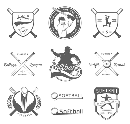 pitching: Vector set Softball badges . Collection sign, emblems, and symbols Softball for print, t shirt, posters and others design. Illustration