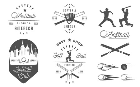 girl shirt: Vector set Softball badges . Collection sign, emblems, and symbols Softball for print, t shirt, posters and others design. Illustration