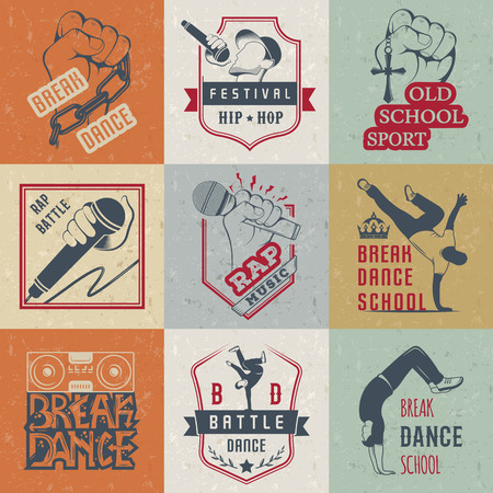 clubber: Set of Breakdance Bboy Silhouettes in Different Poses. Collection  and badges hip-hop school, academy, break dance battle, club, cup and league. Sign Hip-hop, graffiti and street dance.
