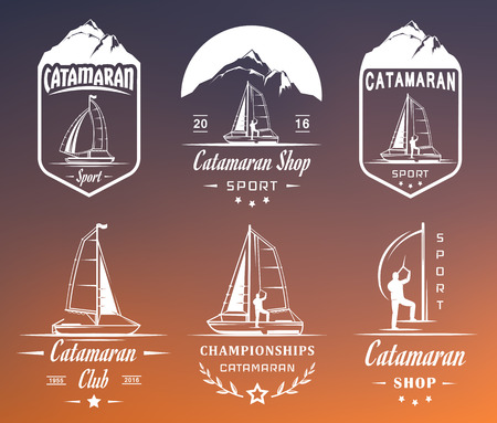 hobie: Set of yacht and catamaran  and badges. Collection sign and emblems pro sailing, catamaran club and shop - Stock Vector