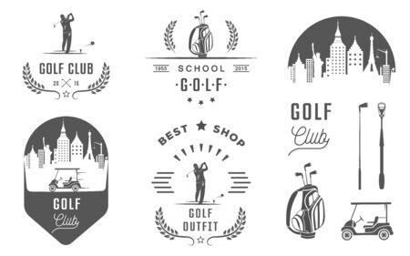 Vector conjunto de palos de golf de la vendimia, etiquetas y emblemas. Conjunto de plantillas de logotipo del club de campo de golf. etiquetas y campos de insignias con texto de ejemplo. emblemas de golf para torneos de golf, organizaciones y clubes. Logos