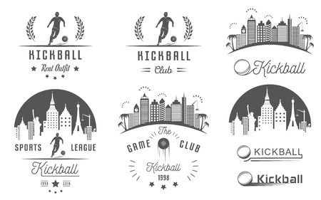 kickball: Set of vintage kickball labels, , sign, badges, icons and outfit. Collection of kickball club emblem and design elements. Kickballl tournament professional logo and sports graphic. Illustration