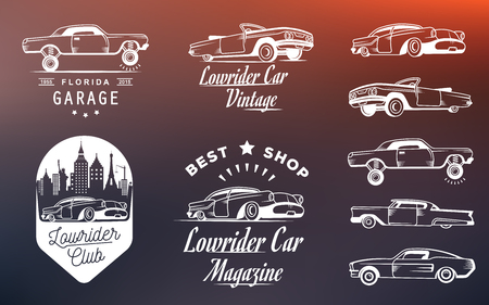 Set vintage lowrider , badge, sign, emblems, sticers and elements design. Collection black and white classic and retro old car icon - Stock Vector