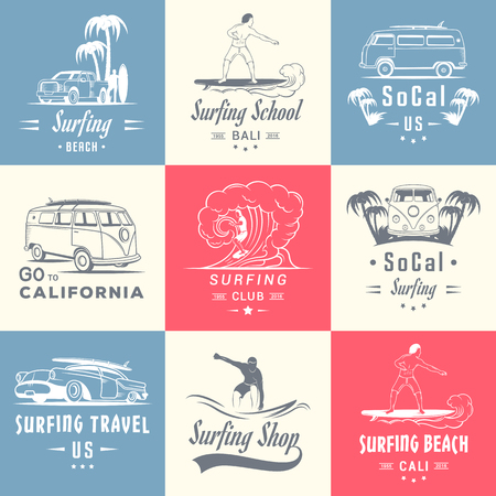 Set of vintage surfing graphics, emblems and badges. Surf collection retro sign. Surf elements and labels.