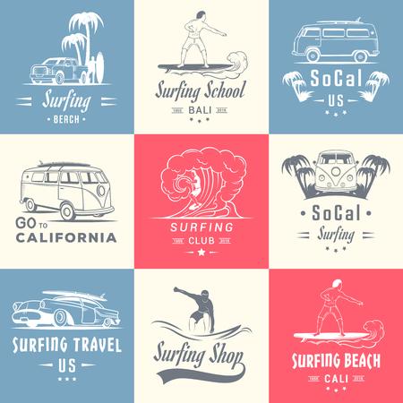 Set di epoca surf grafica, emblemi e distintivi. raccolta Surf retro segno. Elementi Surf ed etichette.
