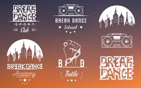 clubber: Set of Breakdance Bboy Silhouettes in Different Poses. Collection logo and badges hip-hop school, academy, break dance battle, club, cup and league. Sign Hip-hop, graffiti and street dance. Illustration