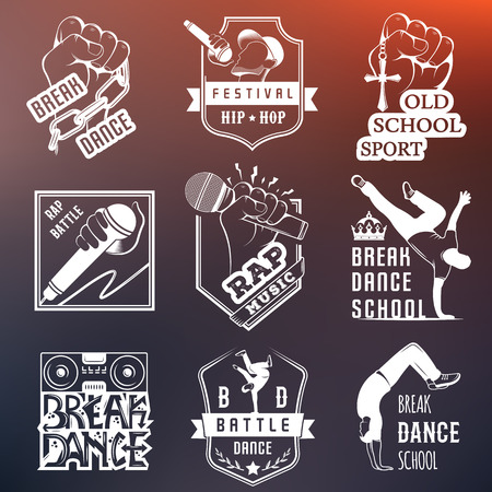 hiphop: Set of Breakdance Bboy Silhouettes in Different Poses. Collection logo and badges hip-hop school, academy, break dance battle, club, cup and league. Sign Hip-hop, graffiti and street dance. Illustration