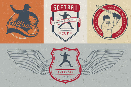 pitching: Vector set Softball badges and logos. Collection sign, emblems, and symbols Softball for print, t shirt, posters and others design. Illustration