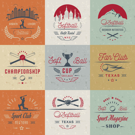 sports field: Vector set Softball badges and logos. Collection sign, emblems, and symbols Softball for print, t shirt, posters and others design. Illustration