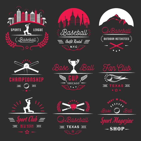 inning: Set of vintage baseball labels, logo, sign, badges, icons and outfit. Collection of baseball club emblem and design elements. Baseball tournament professional logo and sports graphic. Illustration