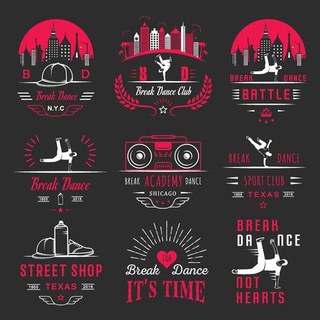 Ensemble de Breakdance Bboy Silhouettes dans des poses différentes. logo Collection et insignes école hip-hop, académie, bataille de break dance, club, coupe et ligue. Inscrivez-vous Hip-hop, graffiti et street dance.