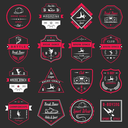 Set of Breakdance Bboy Silhouettes in Different Poses. Collection logo and badges hip-hop school, academy, break dance battle, club, cup and league. Sign Hip-hop, graffiti and street dance. Illustration
