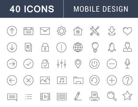 mobile apps: Set vector line icons with open path mobile design and development with elements for mobile concepts and web apps. Collection modern infographic logo and pictogram. Illustration