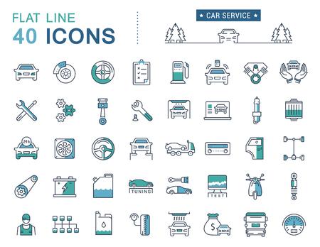 Set vector lijn iconen auto service, auto reparatie en transport in platte design met elementen voor mobiele concepten en web apps. Verzameling moderne infographic logo en pictogram. Stock Illustratie