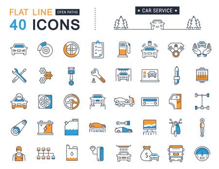 Establecer iconos de líneas vectoriales con servicio de trazado abierto automóvil, reparación de automóviles y el transporte de elementos para conceptos móviles y aplicaciones web.