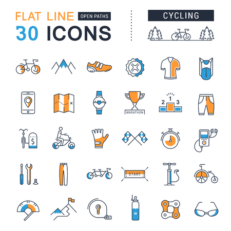 bicycle pump: Set vector line icons with open path cycling, bike elements and parts, bicycle sport with elements for mobile concepts and web apps.