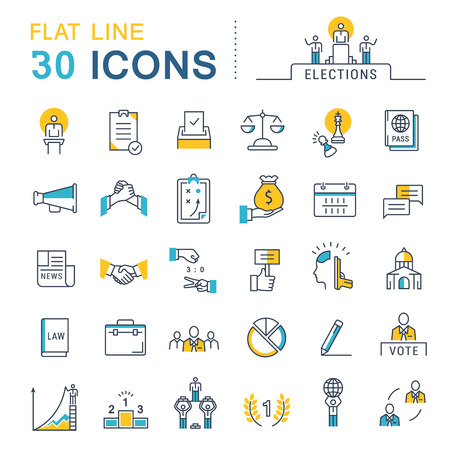 voted: Set vector line icons in flat design voting and elections. Collection politics symbol with elements for mobile concepts and web apps.
