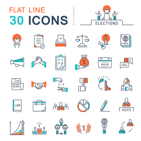 senate elections: Set vector line icons in flat design voting and elections. Collection politics symbol with elements for mobile concepts and web apps.