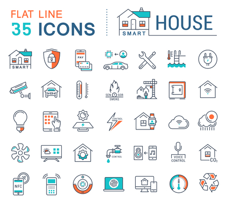 Set vector line icons in flat design smart home, smart systems and technology with elements for mobile concepts and web apps. Collection modern infographic logo and pictogram. 矢量图像
