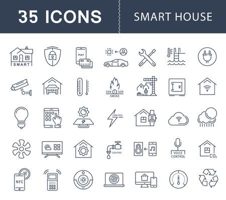 Définir des icônes de ligne de vecteur avec la maison intelligente de chemin ouvert, les systèmes intelligents et la technologie avec des éléments pour les concepts mobiles et les applications Web. Logo de la collection moderne infographie et pictogramme.
