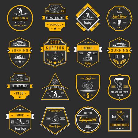 Set of vintage surfing graphics, emblems and badges. Surf collection retro sign and logos. Surf elements and labels. Ilustração
