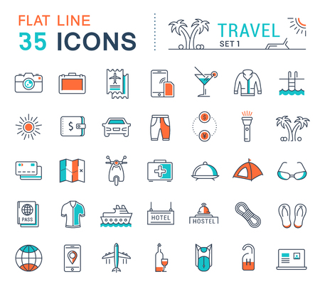 recreational: Set vector line icons in flat design travel, hotel service, resort vacation, tour planning, recreational rest, holiday trips for mobile concepts and web apps. Collection modern infographic logos.