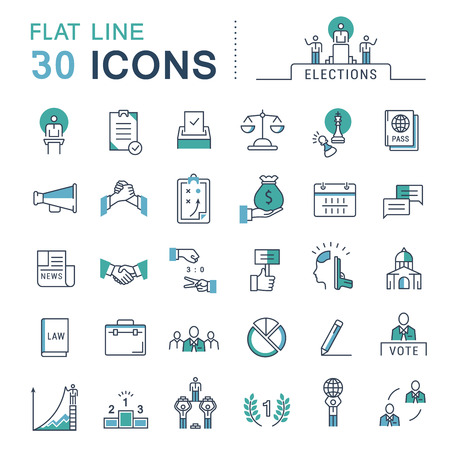 Set vector line icons in flat design voting and elections. Collection politics symbol with elements for mobile concepts and web apps. Collection modern infographic logo and pictogram. Logo
