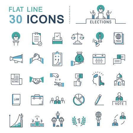 Stellen Sie Vektor Linie Symbole im flachen Design Abstimmungen und Wahlen. Sammlung Politik Symbol mit Elementen für mobile Konzepte und Web-Anwendungen. Collection moderne Infografik Logo und Piktogramm. Logo