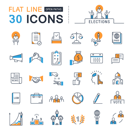 balloting: Set vector line icons in flat design voting and elections. Collection politics symbol with elements for mobile concepts and web apps. Collection modern infographic logo and pictogram. Illustration