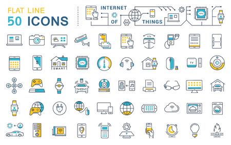 Stel vector lijn pictogrammen in platte ontwerp internet van dingen en slimme gadgets met elementen voor mobiele concepten en web apps. Collectie moderne infographic logo en pictogram.