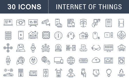 Set vector line icons with open path internet of things and smart gadgets with elements for mobile concepts and web apps. Collection modern infographic logo and pictogram Ilustração