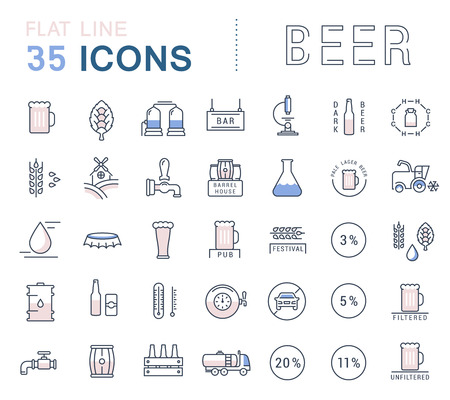 brewing house: Set vector line icons in flat design beer, bottle, glass, mug and pub logo with elements for mobile concepts and web apps. Collection modern infographic logo and pictogram.