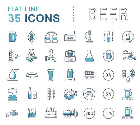 携帯電話の概念と web アプリの要素を持つフラットなデザインのビール、ボトル、グラス、マグカップ、パブのロゴのベクター線のアイコンを設定し