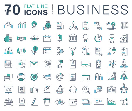 teach: Set vector line icons in flat design business, finance and teamwork with elements for mobile concepts and web apps. Collection modern infographic logo and pictogram.