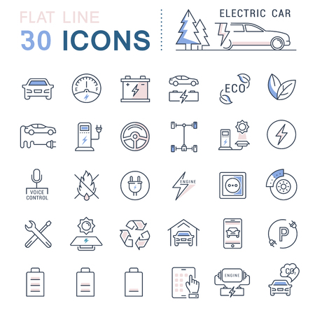 eco icons: Set vector line icons in flat design electric cars and eco transport with elements for mobile concepts and web apps. Collection modern infographic logo and pictogram.