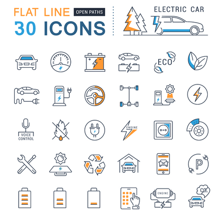 electric line: Set vector line icons in flat design electric cars and eco transport with elements for mobile concepts and web apps. Collection modern infographic logo and pictogram.