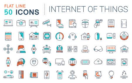 Fije los iconos del vector de línea plana en Internet el diseño de las cosas y aparatos inteligentes con elementos para conceptos móviles y aplicaciones web. Colección moderna logotipo de infografía y pictograma. Logos