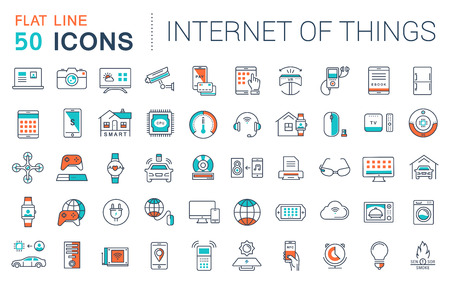 Set vector line icons in flat design internet of things and smart gadgets with elements for mobile concepts and web apps. Collection modern infographic logo and pictogram. Illustration
