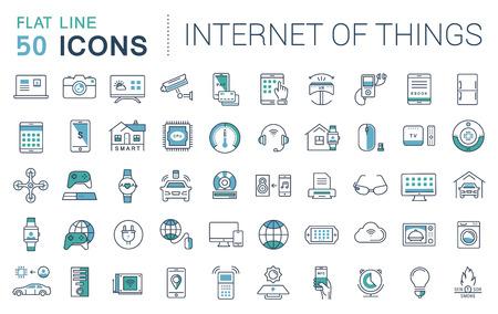 Fije los iconos del vector de línea plana en Internet el diseño de las cosas y aparatos inteligentes con elementos para conceptos móviles y aplicaciones web. Colección moderna logotipo de infografía y pictograma.