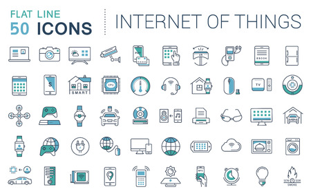 Set vector line icons in flat design internet of things and smart gadgets with elements for mobile concepts and web apps. Collection modern infographic logo and pictogram. Stock Illustratie